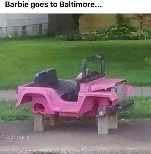 when barbie goes to baltimore kid car no wheels