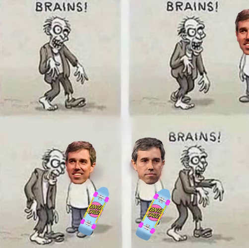 zombie looking for brains walks by beto orourke