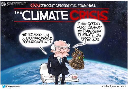 bernie sanders should use abortion to stop climate change if that doesnt work snap fingers eliminate upper 50 percent
