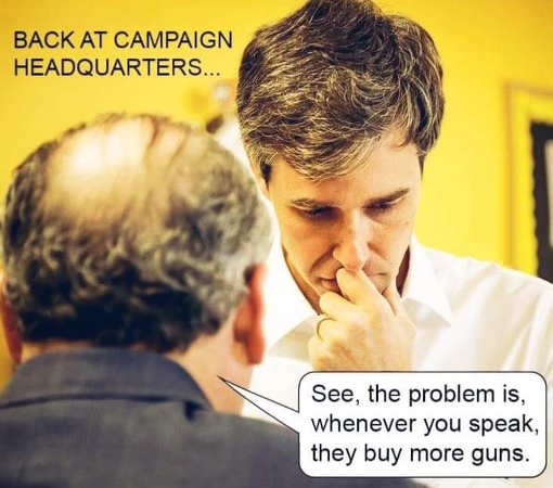 beto orourke campaign headquarters people see you and buy more guns