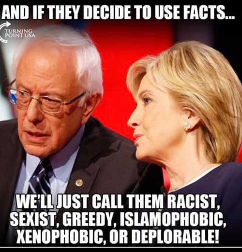hillary clinton bernie sanders if hit with facts call deplorable racist xenophobic sexist