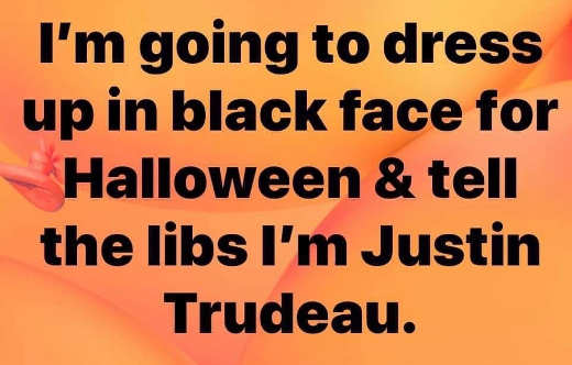 im going to dress in black face for halloween tell libs im justin trudeau