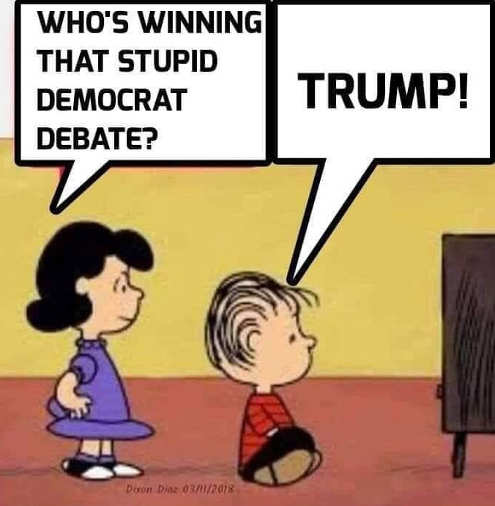 linus lucy who is winning democratic debate trump