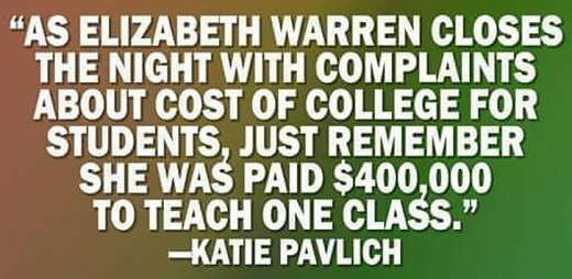 quote pavlich elizabeth warren talks about cost of college but was paid 400000 to teach one class