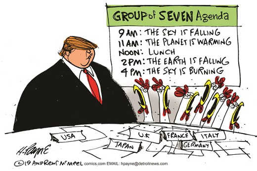 trump group of seven agenda climate change chicken sky is falling