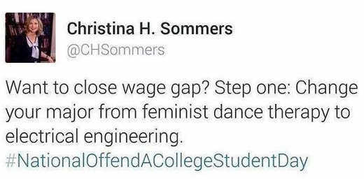 tweet christina sommers want to close wage gap change major from feminist dance to electrical engineering