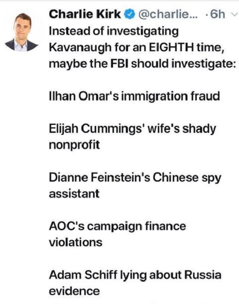 tweet instead of investigating kavanaugh for 8th time fbi do omar aoc feinstein schiff