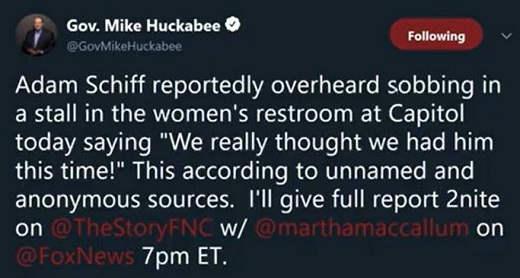 tweet mike huckabee adam schiff overheard sobbing in ladies room