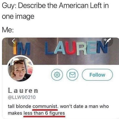 tweet tall blonde communist wont date man who makes less than 6 figures