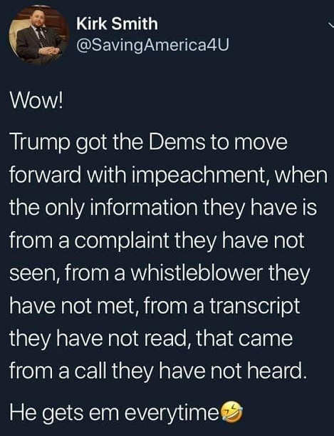 tweet wow trump got democrats on impeachment