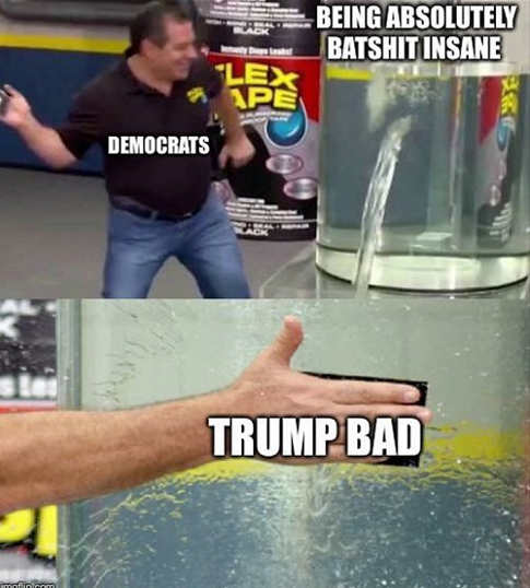 democrats flex tape trump bad covering being batshit insane