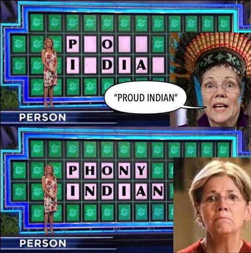 elizabeth warren wheel of fortune proud indian phony indian