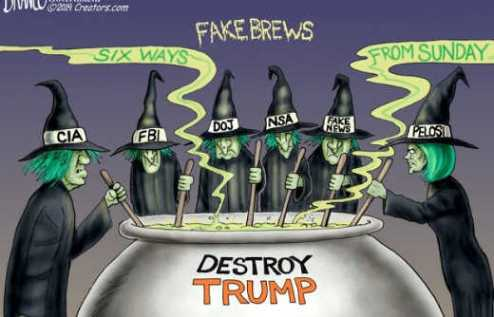 fake brews witch hunt destroy trump pelosi schiff cia fba media