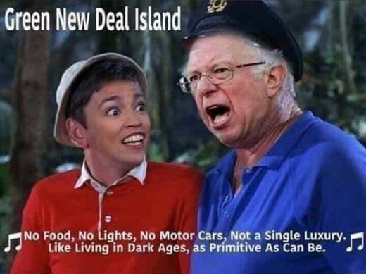 green new deal island aoc bernie sanders dresses as gilligan skipper
