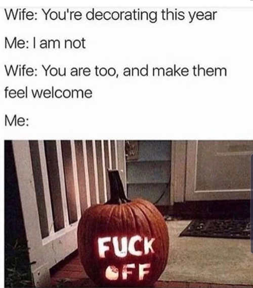husband wife halloween decorations pumpkin fuck off