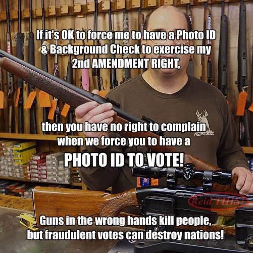 if ok for photo id gun control should need to vote