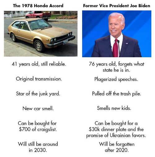 joe biden comparison to 1979 honda accord