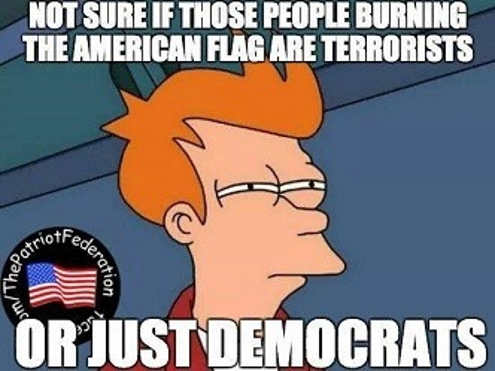 not sure if terrorist burning american flag or democrats