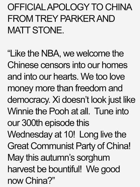 official apology to china south park trey parker matt stone