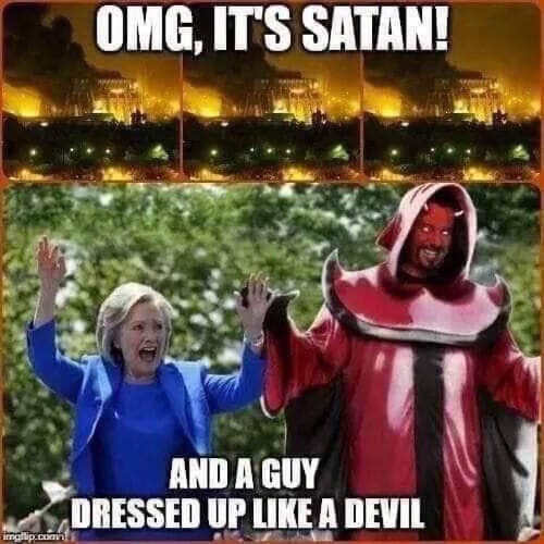 omg its satan and guy dressed like devil hillary clinton