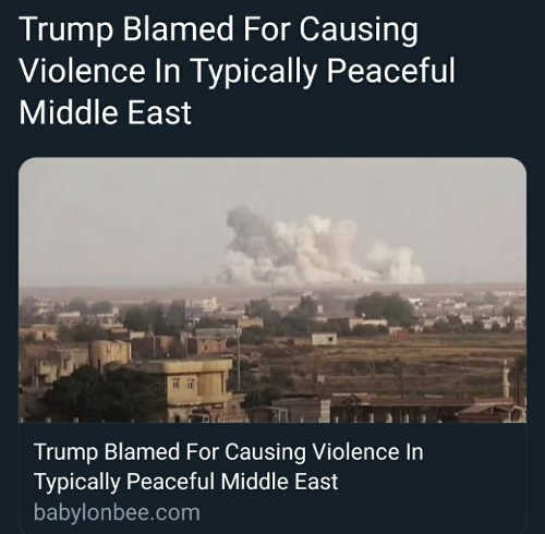 trump blamed for causing violence in typically peaceful middle east