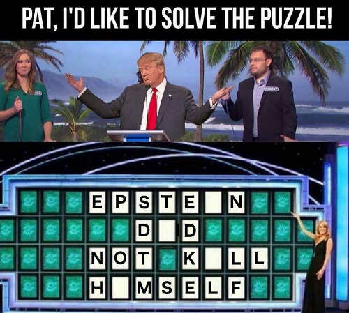 trump wheel of fortune epstein did not kill himself