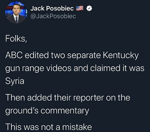 tweet abc edited two separate kentucky gun range videos claimed as syria not a mistake