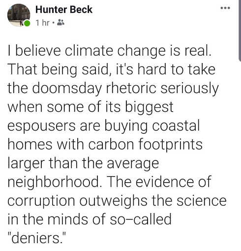 tweet hunter beck believe in climate change but corruption outweighs science