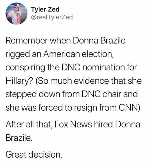 tweet remember when donna brazile rigged dnc election fired hired by fox news