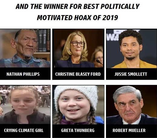 winner 2019 hoax phillips blasey ford smollett climate girl greta thornberg robert mueller