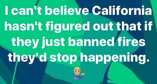 cant believe california hasnt stopped wild fires by banning them