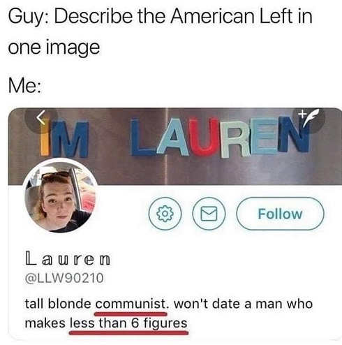describe american left in one image tall blonde communist wont date man makes less than 6 figures