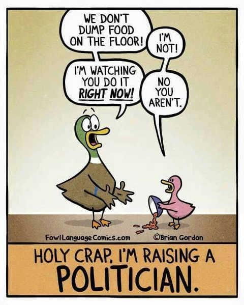 dumping food on floor no im not raising a politician ducks
