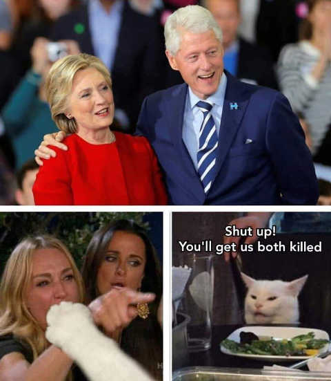 hillary bill clinton cameron diaz cat shut up or youll get us both killed