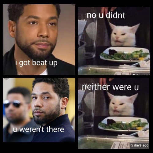 jussie smollett i got beat up cat no you didnt you werent there neither were you