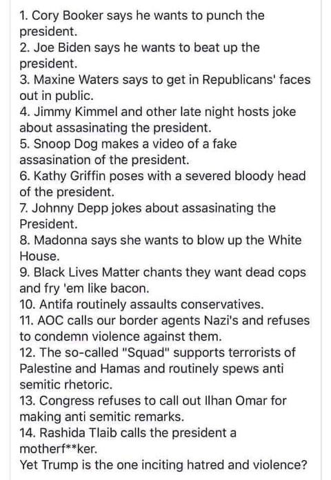 list of calls for violence against conservatives trump supporters