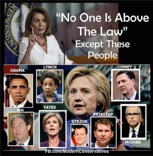 pelosi no one above law excep hillary mccabe comey obama lynch