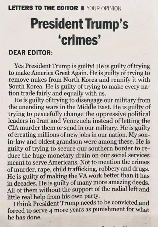 president trumps crimes newspaper editorial
