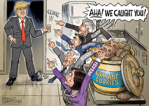 trump turns on lights caught romney pelosi biden kerry hands in cookie jar