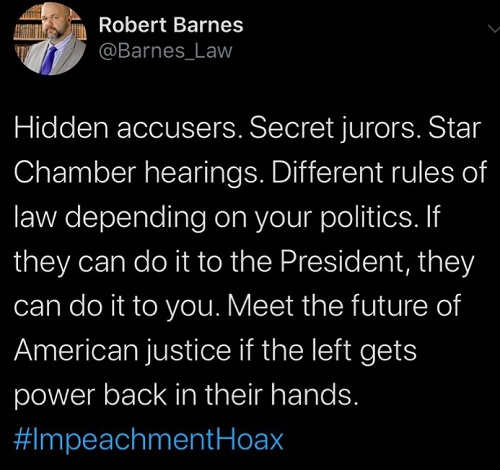 tweet impeachment hoax justice system if left gets power