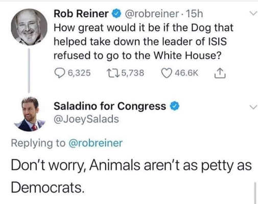 tweet rob reiner dog shouldnt visit whitehouse animals not as petty as democrats