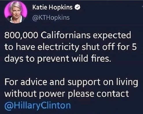 tweets california goes without power for info contact hillary clinton