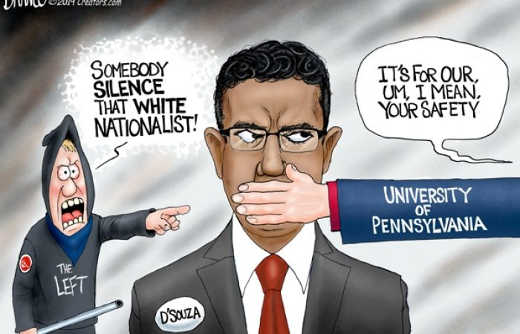 university of pennsylvania silencing d souza calling white nationalist
