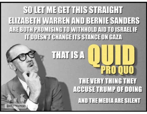 warren sanders cut off aid to israel isnt this quid pro quo same thing accusing trump