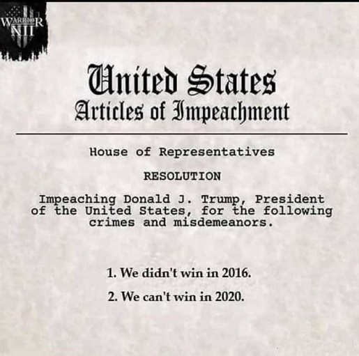 articles of impeachment didnt win in 2016 cant win in 2020