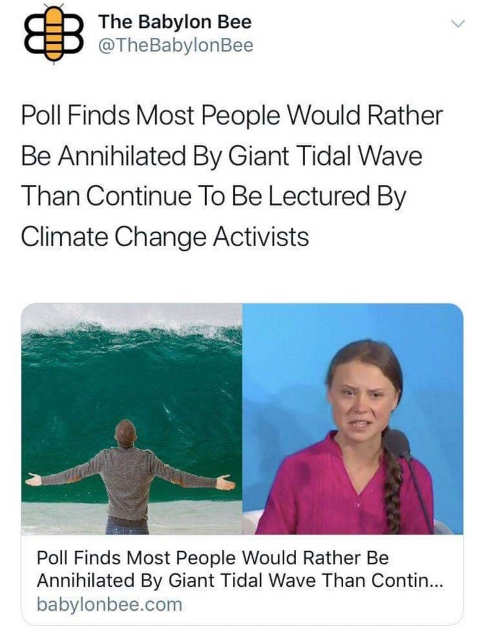 babylon bee poll finds most people rather be annihilated by giant tidal wave then continue climate change