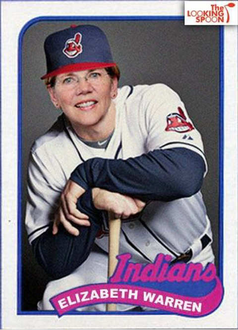 elizabeth warren cleveland indians baseball card