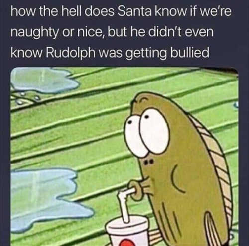 how the hell does santa know if naughty or nice didnt even know rudolph was bullied