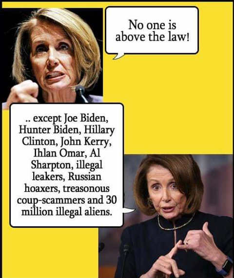 nancy pelosi no one above law except biden hillary lynch fbi immigrants etc