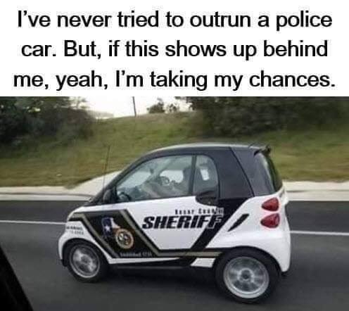 never tried to outrun cops but if smart car one shows up behind me will take chances